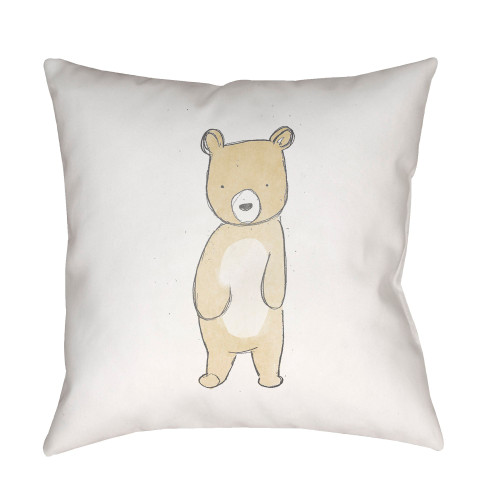 """20"""" White and Brown Bear Printed Square Throw Pillow Cover - IMAGE 1"""