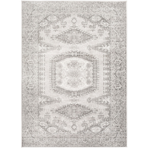 """6'7"""" x 9' Persian Floral Patterned Gray Rectangular Area Throw Rug - IMAGE 1"""