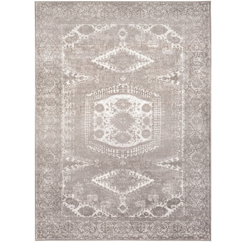 "6'7"" x 9' Persian Floral Patterned Charcoal Gray and White Rectangular Area Throw Rug - IMAGE 1"