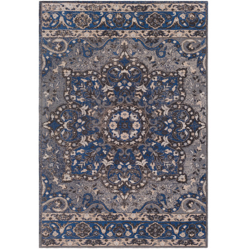 2' x 3' Geometric Pattern Blue and Gray Wool Area Rug - IMAGE 1