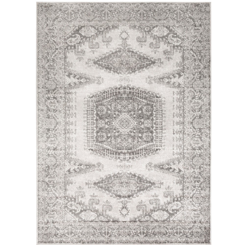 """6'7"""" x 9' Persian Floral Patterned Gray and White Rectangular Area Throw Rug - IMAGE 1"""