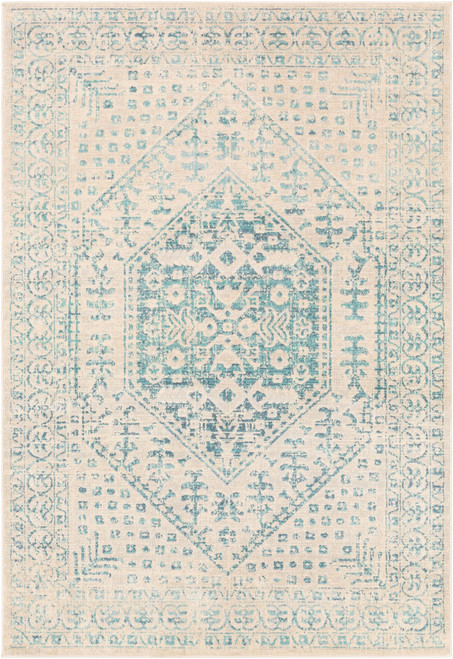 7.8' x 10.25' Damask Patterned Blue and Beige Rectangular Area Throw Rug - IMAGE 1