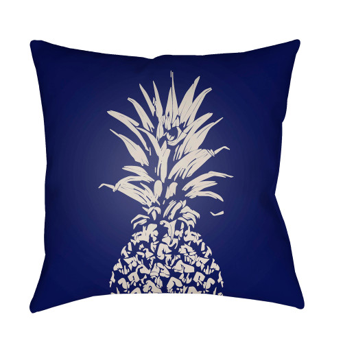 """20"""" Navy Blue and White Pineapple Printed Square Throw Pillow Cover with Knife Edge - IMAGE 1"""