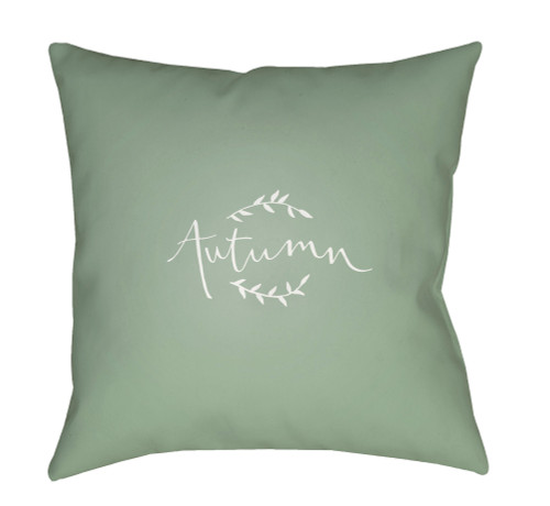 "20"" Pale Green and White Autumn Printed Square Throw Pillow Cover - IMAGE 1"
