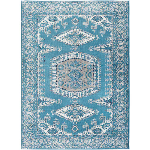 """6'7"""" x 9' Persian Floral Patterned Sky Blue and Gray Rectangular Area Throw Rug - IMAGE 1"""