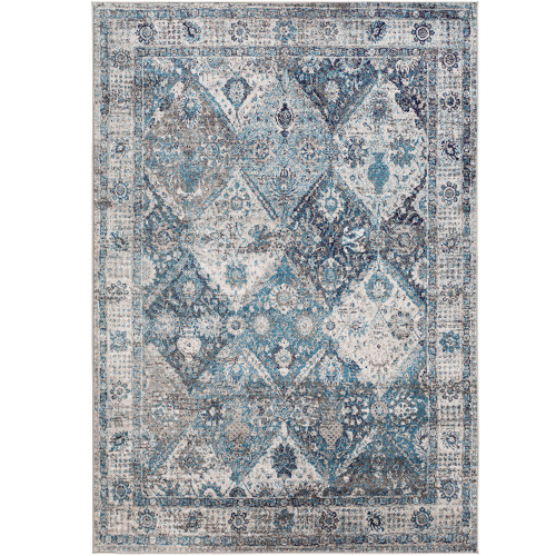 """6'7"""" x 9' Distressed Finish Teal and Beige Rectangular Machine Woven Area Rug - IMAGE 1"""