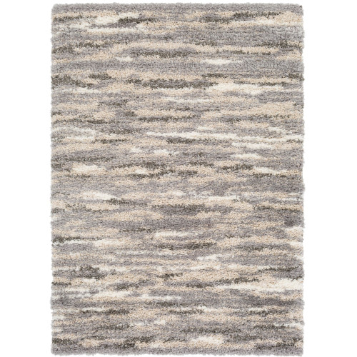 8' x 10' Abstract Gray and Brown Rectangular Polyester Area Throw Rug - IMAGE 1