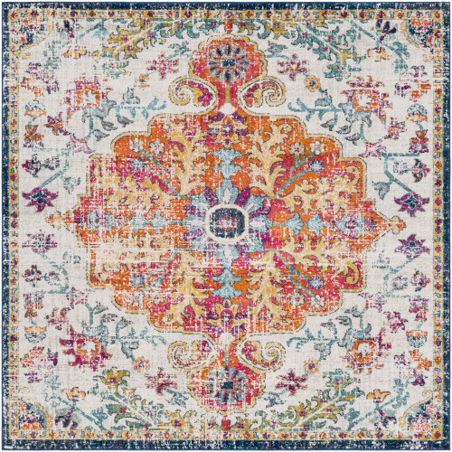 6.5' Oriental Patterned Gray and Orange Square Area Throw Rug - IMAGE 1