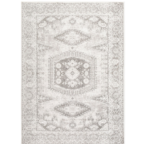 """6'7"""" x 9' Vintage Persian Floral Patterned Gray and White Rectangular Area Throw Rug - IMAGE 1"""