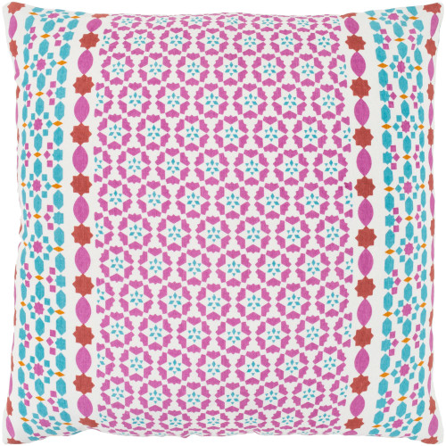 """20"""" Blue and Pink Square Throw Pillow with Knife Edge - Poly Filled - IMAGE 1"""