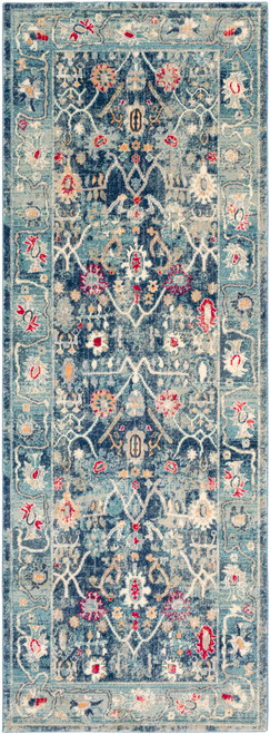 2.9' x 7.8' Distressed Gray and Blue Rectangular Area Throw Rug Runner - IMAGE 1