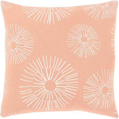 """18"""" Peach and White Screen Printed Square Throw Pillow - Down Filler - IMAGE 1"""