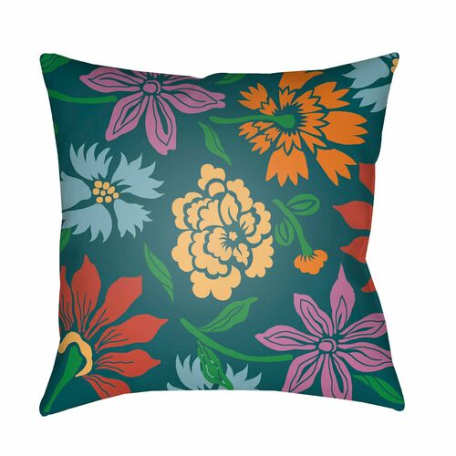 "20"" Green and Yellow Flowers Printed Square Throw Pillow Cover - IMAGE 1"