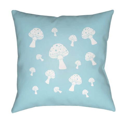 """20"""" Pale Blue and White Mushroom Printed Square Throw Pillow Cover with Knife Edge - IMAGE 1"""