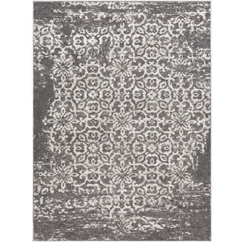 """6'7"""" x 9' Distressed Finish Taupe and White Rectangular Area Rug - IMAGE 1"""