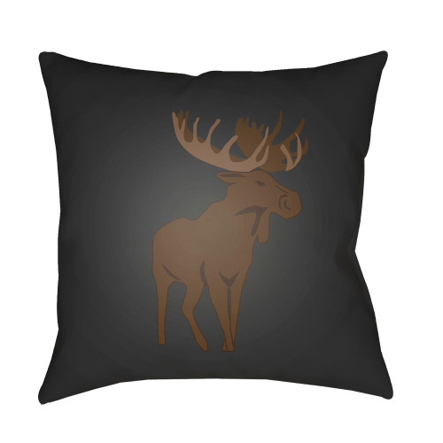 """20"""" Brown and Black Moose Printed Square Throw Pillow Cover - IMAGE 1"""