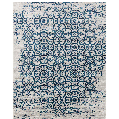 "6'7"" x 9' Distressed Blue and Gray Seamless Mandala Rectangular Machine Woven Area Rug - IMAGE 1"