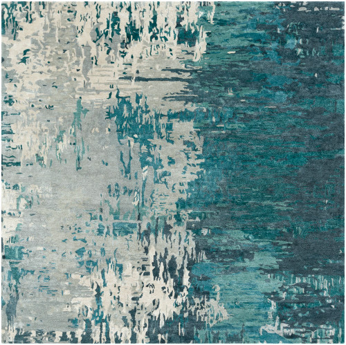 8' x 8' Abstract Style Teal Green and Ivory Square Area Throw Rug - IMAGE 1