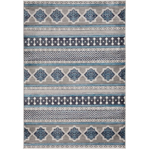 "6'7"" x 9' Ethnic Pattern Brown and Teal Rectangular Area Rug - IMAGE 1"