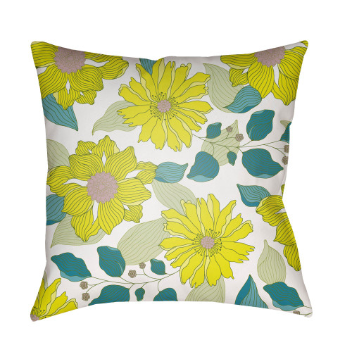 "20"" Bumblebee Yellow and Green Floral Printed Square Throw Pillow Cover - IMAGE 1"
