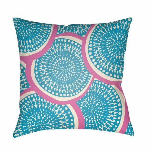 """22"""" Blue and Pink Circular Aboriginal Patterned Square Throw Pillow Cover - IMAGE 1"""