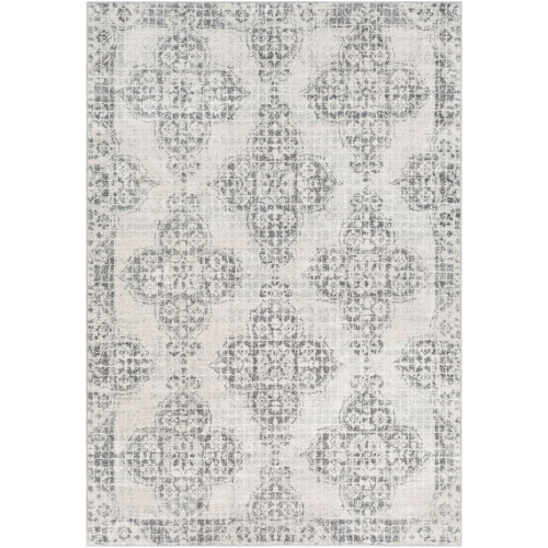 3.9' x 5.5' Floral Gray and Ivory Rectangular Area Throw Rug - IMAGE 1