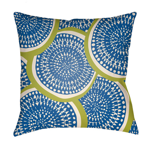"""22"""" Green and Blue Circular Aboriginal Patterned Square Throw Pillow Cover - IMAGE 1"""