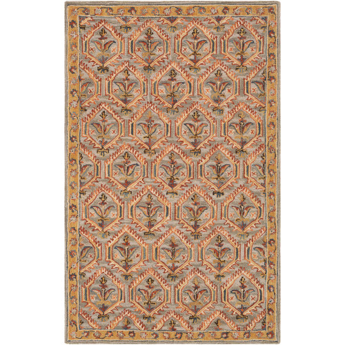 4' x 6' Damask Patterned Gray and Yellow Rectangular Area Throw Rug - IMAGE 1