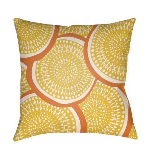 """22"""" Yellow and Orange Circular Aboriginal Patterned Square Throw Pillow Cover - IMAGE 1"""