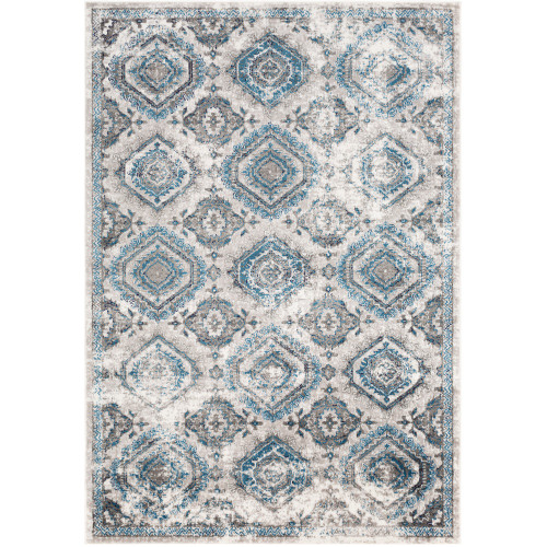 """6'7"""" x 9' Distressed Finish Geometric Pattern Teal and Beige Rectangular Machine Woven Area Rug - IMAGE 1"""