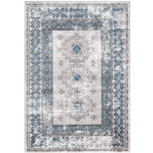 """6'7"""" x 9' Distressed Finish with Geometric Border Blue and Beige Rectangular Area Rug - IMAGE 1"""