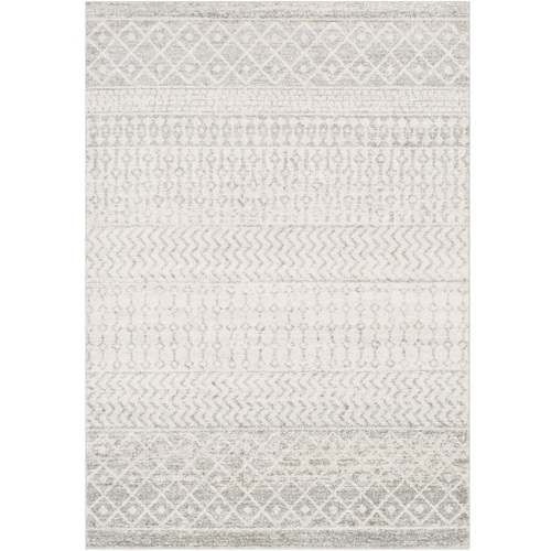 "9'3"" x 12'6"" Gray and White Elegant Modern Moroccan Boho Design Rectangular Machine Woven Area Rug - IMAGE 1"