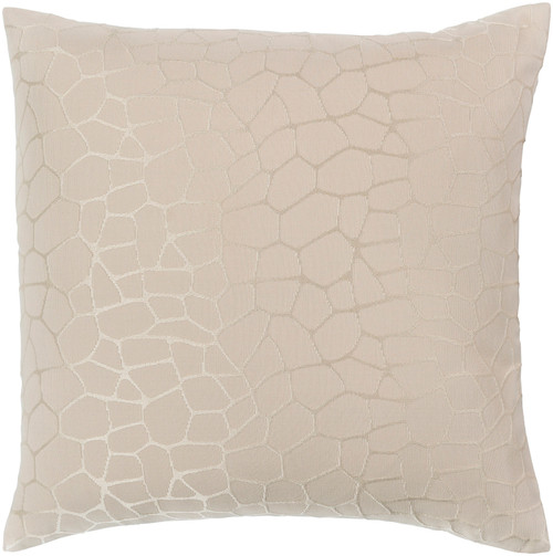 "18"" Beige and Brown Geometric Patterned Square Throw Pillow - Down Filler - IMAGE 1"