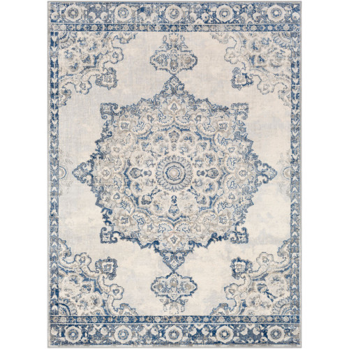 7.8' x 10.25' Distressed Ivory and Spruce Blue Rectangular Area Throw Rug - IMAGE 1