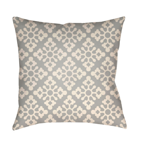 """22"""" Gray and White Geometric Floral Pattern Square Throw Pillow Cover - IMAGE 1"""