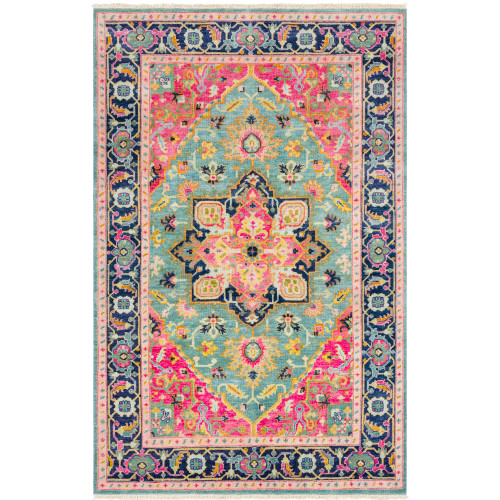 2' x 3' Persian Teal and Pink Rectangular Hand Knotted New Zealand Wool Area Throw Rug - IMAGE 1