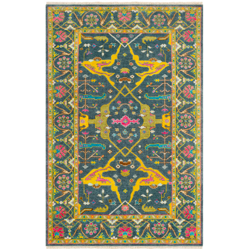 2' x 3' Southwestern Flower Blossom Blue and Olive Green Rectangular Hand Knotted New Zealand Wool Area Throw Rug - IMAGE 1