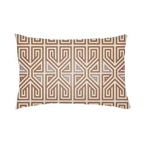 """24"""" Brown and Beige Geometric Patterned Rectangular Throw Pillow Cover - IMAGE 1"""