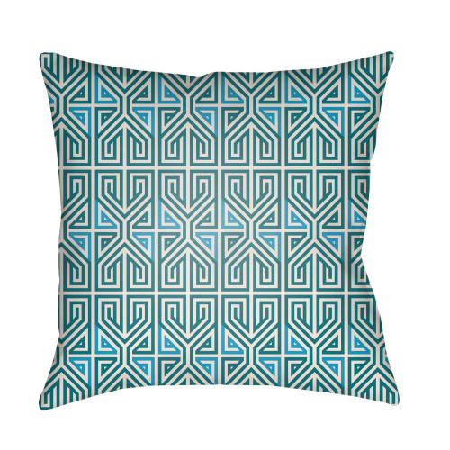 """24"""" Teal Blue and White Geometric Patterned Rectangular Throw Pillow Cover - IMAGE 1"""