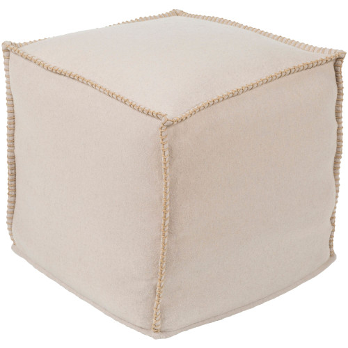 """18"""" Ivory Solid Patterned Cubic Pouf Ottoman - IMAGE 1"""