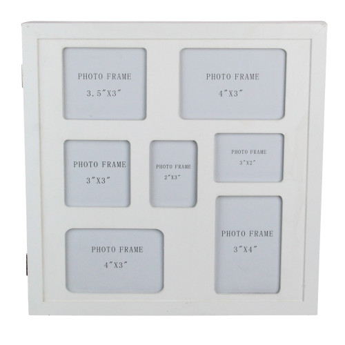 """12"""" White Seven Slot Collage Picture Frame with Hidden Storage - IMAGE 1"""