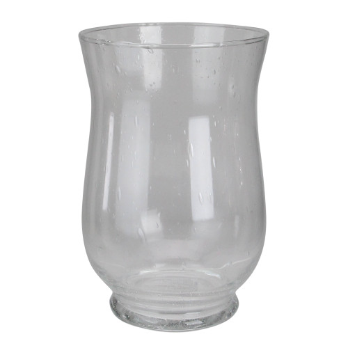 "10"" Clear Contemporary Seeded Glass Hurricane Vase - IMAGE 1"