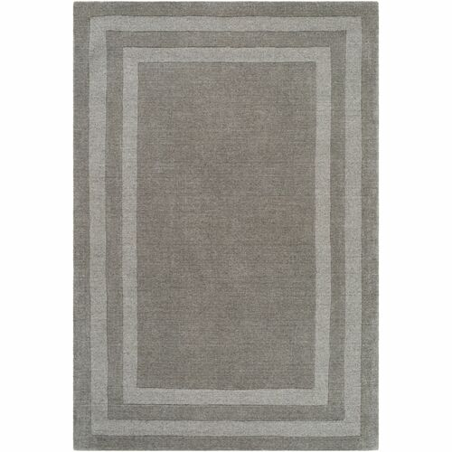 6' x 9' Gray with Border Rectangular Hand Tufted Area Rug - IMAGE 1
