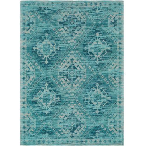 2' x 3' Geometric Pattern Teal and Ivory Wool Area Rug - IMAGE 1