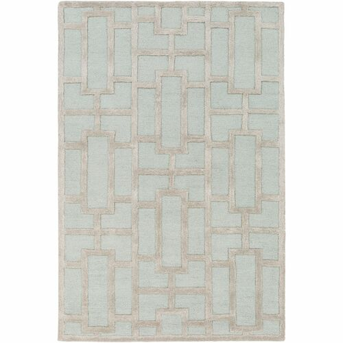"""7'6"""" x 9'6"""" Geometric Patterned Teal Green and Brown Rectangular Area Rug - IMAGE 1"""