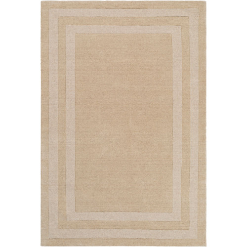 6' x 9' Brown with Border Rectangular Hand Tufted Area Rug - IMAGE 1