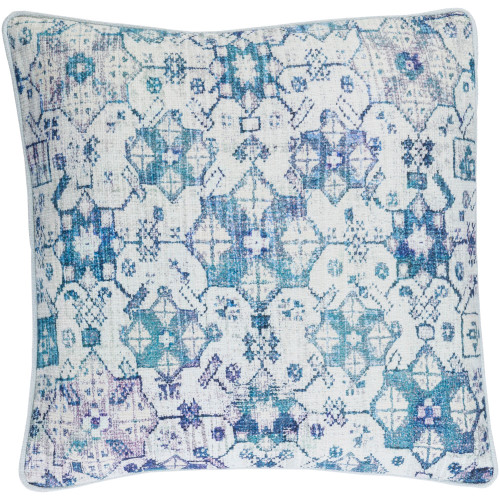 """20"""" White and Pale Blue Digitally Printed Square Throw Pillow Cover - IMAGE 1"""