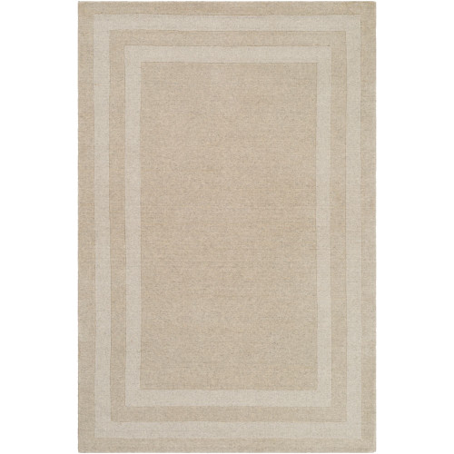 6' x 9' Brown and Ivory with Border Rectangular Hand Tufted Area Rug - IMAGE 1