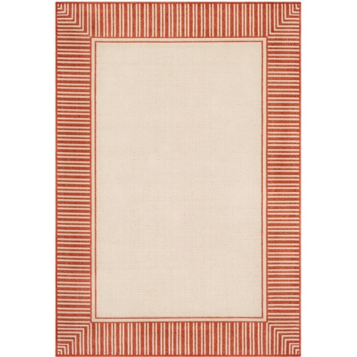 "2'3"" x 7'9"" Alfresco Beige and Orange Striped Borderline Pattern Synthetic Area Rug - IMAGE 1"