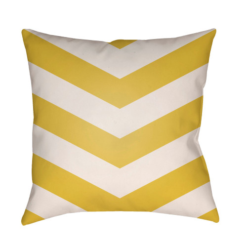 "22"" Yellow and White Chevron Patterned Square Throw Pillow Cover - IMAGE 1"